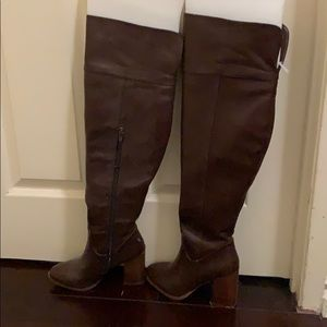 Dark brown faux leather thigh high boots with heel